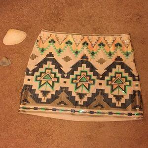 Express Aztec Print Sequined Mini Skirt